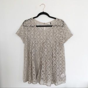 Anthropologie Akemi + Kin Gold Lace Top